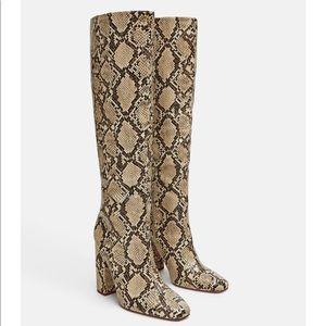 Zara Heeled Snakeskin Look Boot